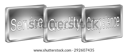 Service Quality Competence Button - stock photo