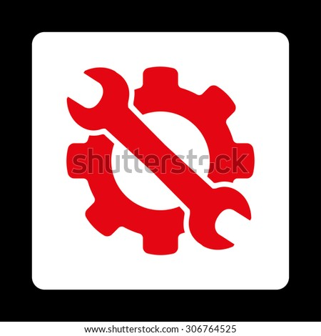 Service raster icon. This flat rounded square button uses red and white colors and isolated on a black background.
