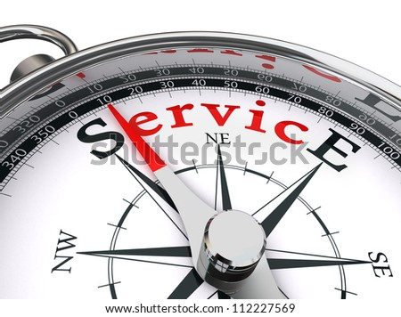 service red word indicated by compass conceptual image on white background