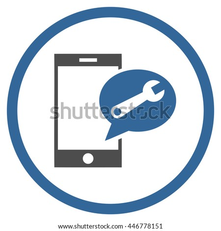 Service SMS glyph bicolor icon. Image style is a flat icon symbol inside a circle, cobalt and gray colors, white background. - stock photo