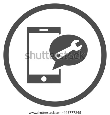 Service SMS glyph icon. Image style is a flat icon symbol inside a circle, gray color, white background. - stock photo