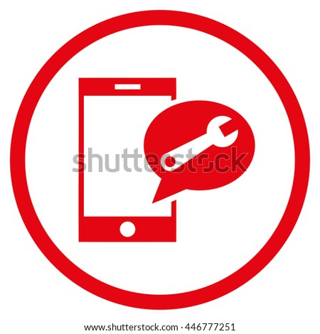 Service SMS glyph icon. Image style is a flat icon symbol inside a circle, red color, white background. - stock photo