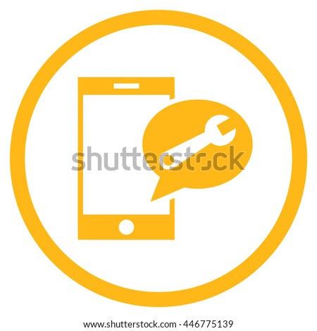 Service SMS glyph icon. Image style is a flat icon symbol inside a circle, yellow color, white background. - stock photo