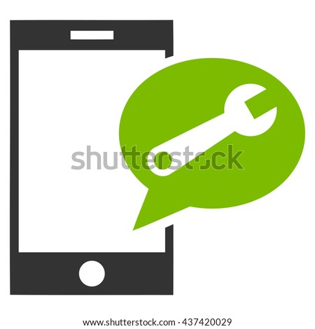 Service SMS glyph icon. Style is bicolor flat icon symbol, eco green and gray colors, white background. - stock photo