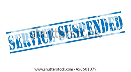 service suspended blue stamp on white background - stock photo