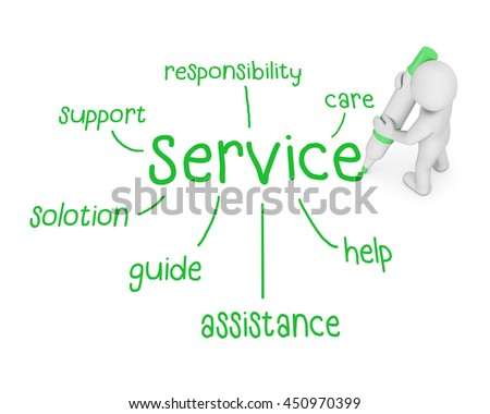 service text ,business man writing service concept ,Man Explain the meaning of services , 3d rendering - stock photo