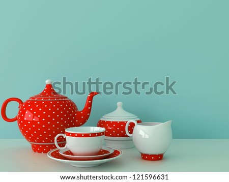 Service with a celebratory pattern on the background of pastel blue wall