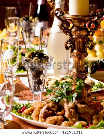 service with silverware and glass stemware for an event party