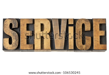 service word - isolated text in vintage letterpress wood type