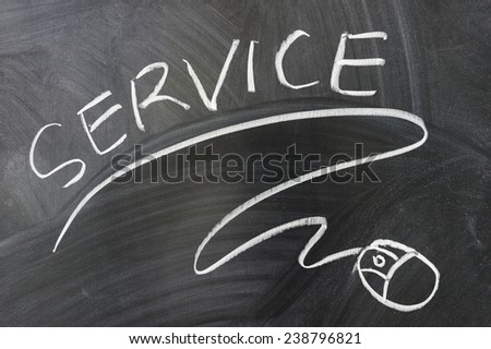 Service words and mouse symbol