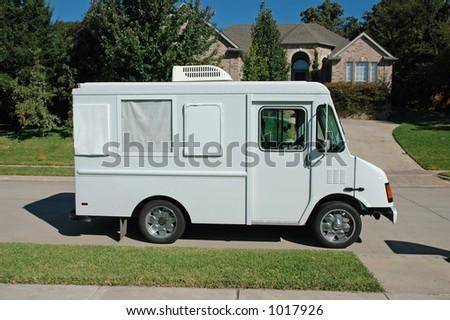 Service Work Truck in Suburbia - stock photo