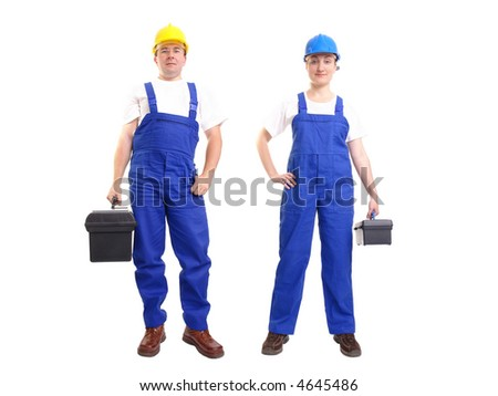 Serviceman and servicewoman wearing yellow and blue helmet and blue overall each holding black toolbox - isolated on white background