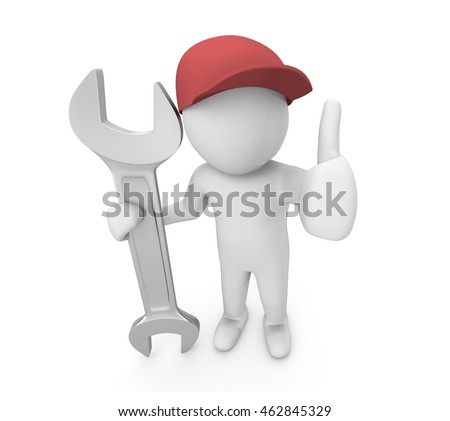 Services concept, Mechanic pose with big wrench ,service man , 3d rendering
