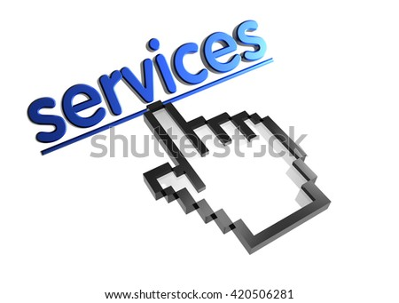 services. 3d rendered inscription. Link and finger, pointer. Isolated on white - stock photo
