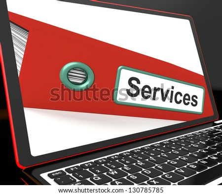 Services File On Laptop Shows Services Records And Business Information