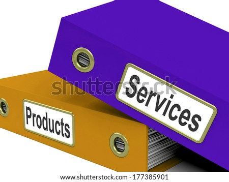 Services Products Folders Showing Business Service And Merchandise