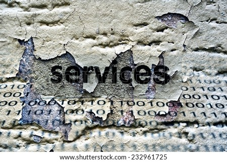 Services text on grunge background - stock photo