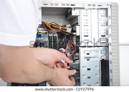Servicing a high performance personal computer - stock photo