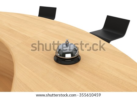Servicing Bell on the Wooden Table Extreme Closeup - stock photo