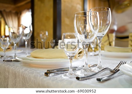 Serving banquet table in a restaurant