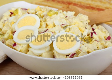 Serving bowl of potato salad with sliced hard boiled egg - stock photo