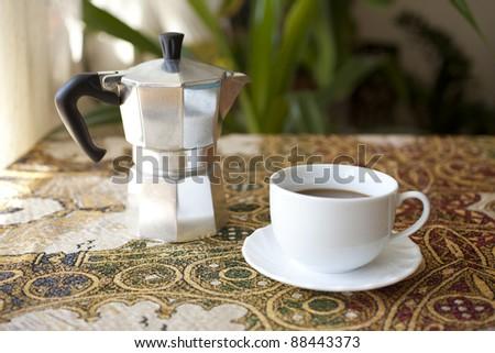 serving coffee - stock photo