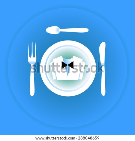 Serving cutlery and napkin. Clothing waiter. - stock photo