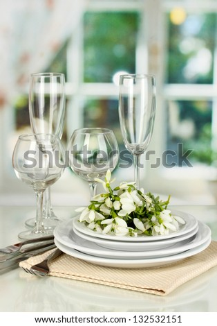 Serving dishes and snowdrops on room background
