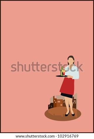 Serving Drinks background with space (poster, web, leaflet, magazine) - stock photo