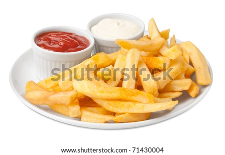 Serving french fries - stock photo