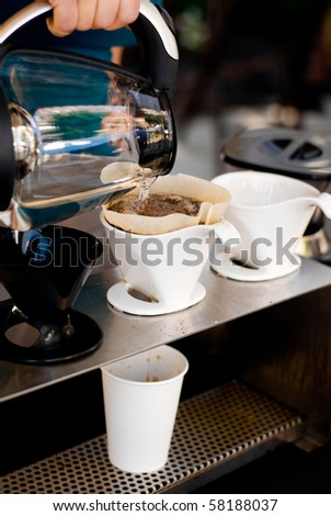 Serving fresh coffee - stock photo
