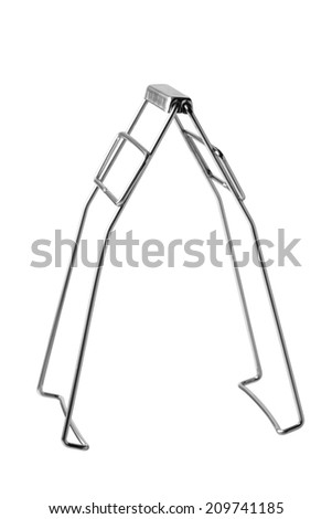 Serving kitchen tongs isolated on a white  - stock photo