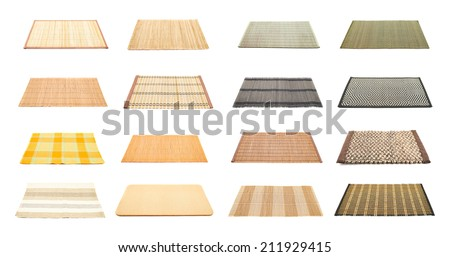 Serving mat isolated over white background, set of sixteen variations - stock photo