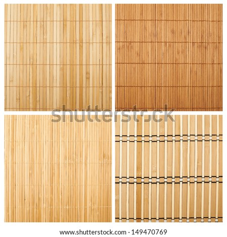Serving mat texture as abstract background composition, top view above, set of four versions - stock photo