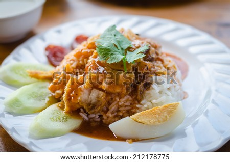 serving of rice with roasted pork on top - stock photo
