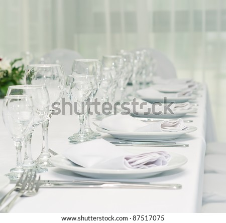 serving of table for a supper in a restaurant - stock photo