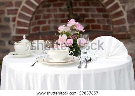 serving on the background of a brick wall - stock photo