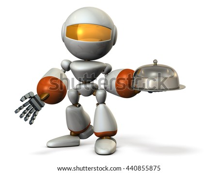 Serving robot. Cloche in its hand.  3D illustration - stock photo