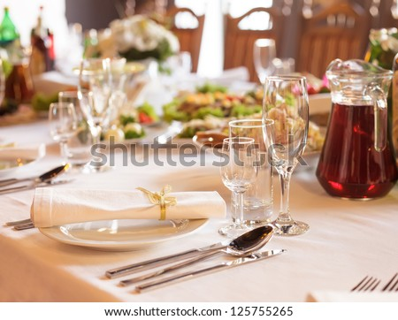 Serving table prepared for event party or  wedding - stock photo