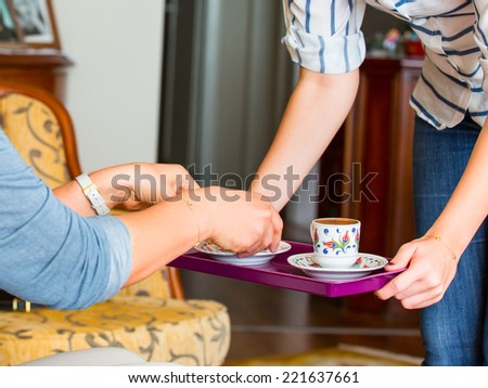 serving turkish coffee cup  - stock photo