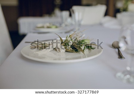 serving wedding table in restaurant white cups