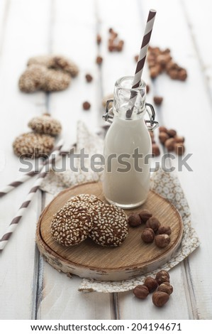 Sesame and hazelnut cookies - stock photo