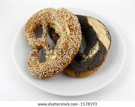 Sesame and poppy seed coated twist pretzels