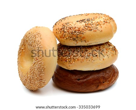 sesame bagels on white background