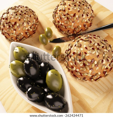 sesame Bread and olive on wooden board  - stock photo