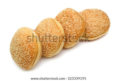 sesame buns roll up isolated on white