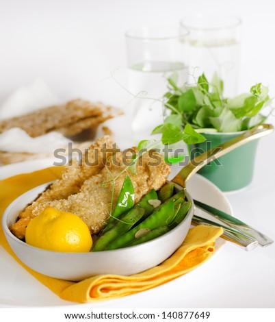 Sesame Chicken Schnitzels with lemon sugar snaps