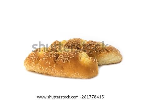 Sesame Garlic Bread on white  - stock photo