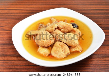 Sesame oil bearded tooth mushroom       - stock photo