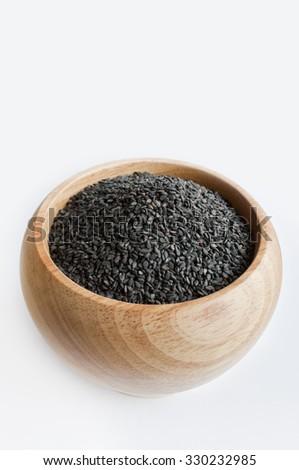 Sesame raw black - stock photo